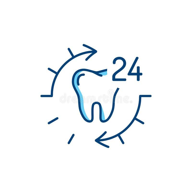 24 icone del dente di cure odontoiatriche di ora Linea sottile icone di stomatologia di arte Illustrazione di vettore royalty illustrazione gratis