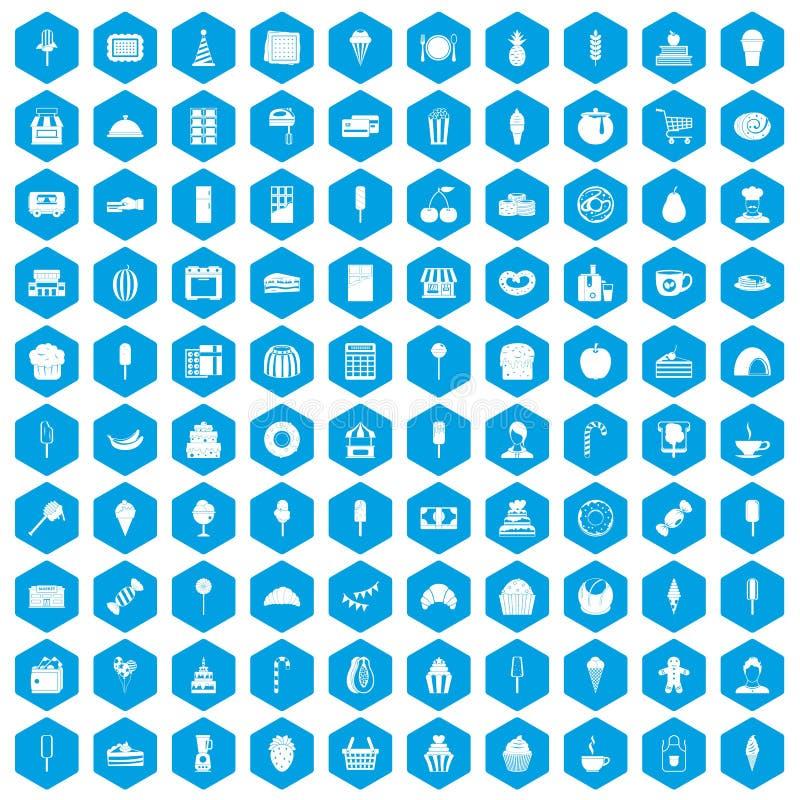 100 icone del dessert messe blu royalty illustrazione gratis