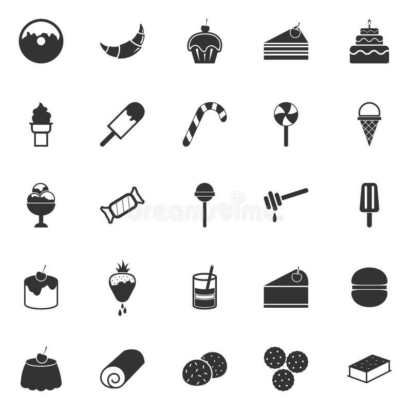 Icone del dessert su fondo bianco illustrazione vettoriale