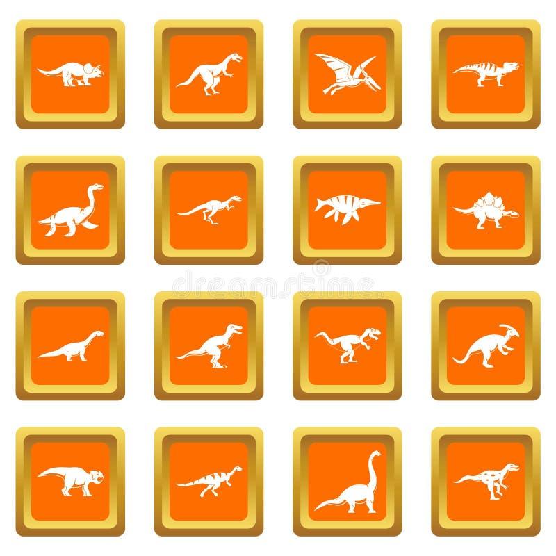 Icone del dinosauro messe arancio illustrazione di stock