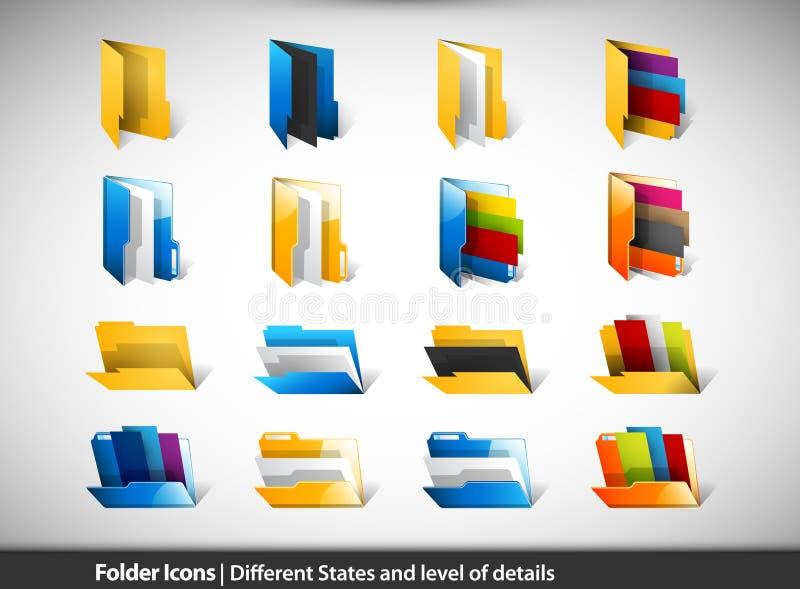 Icone del dispositivo di piegatura | Condizioni e livello differenti di Detai illustrazione di stock