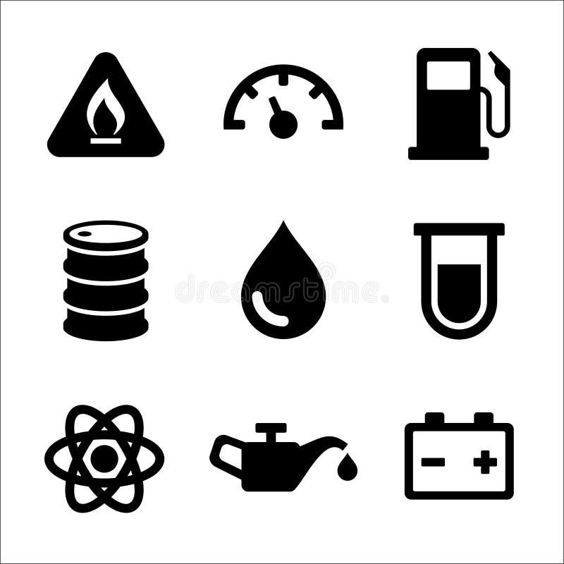 Icone del distributore di benzina del combustibile diesel della benzina messe illustrazione vettoriale