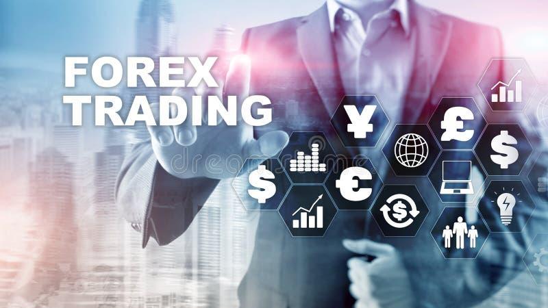 Icone del dollaro dei diagrammi di finanza delle operazioni di borsa di valuta di negoziazione dei forex euro su fondo vago fotografia stock