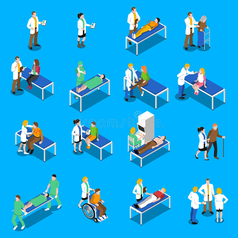 Icone del dottore Patient Communication Isometric messe illustrazione vettoriale