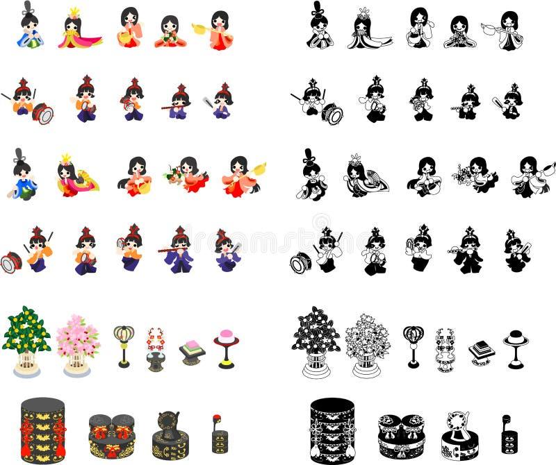 Icone del festival delle ragazze nel Giappone illustrazione vettoriale