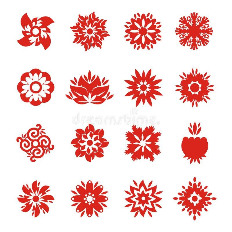 Icone del fiocco di neve illustrazione di stock
