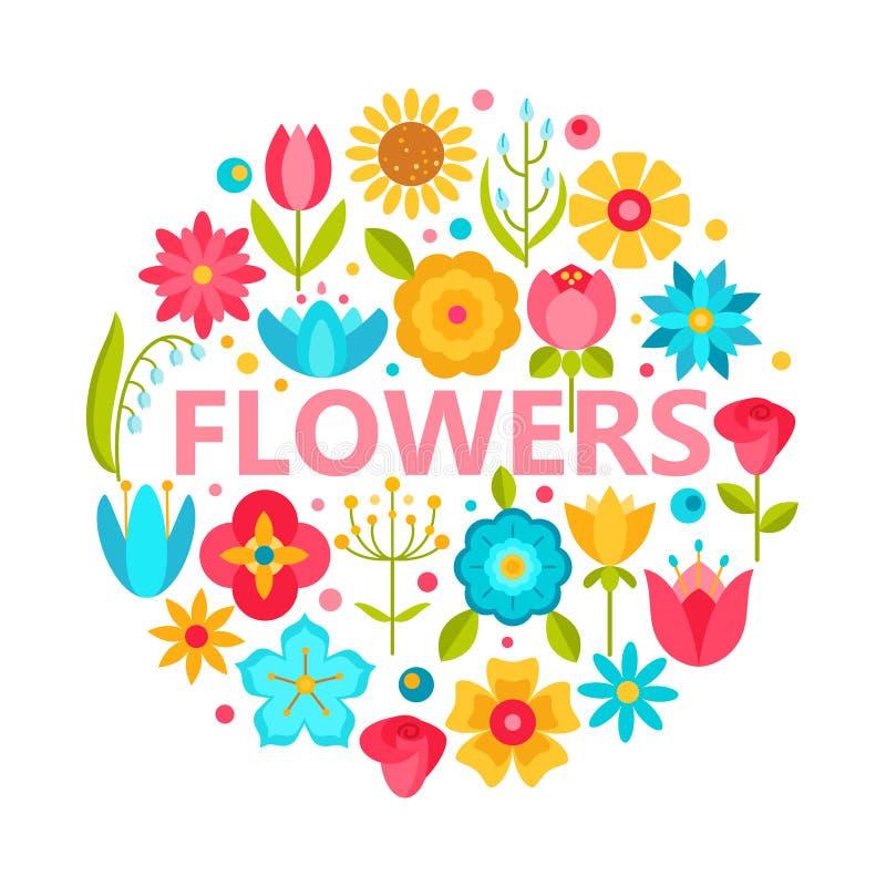 Icone del fiore con gli elementi piani di progettazione di vettore di stile illustrazione vettoriale