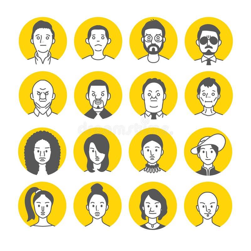 Icone del fronte dell'avatar della gente illustrazione di stock