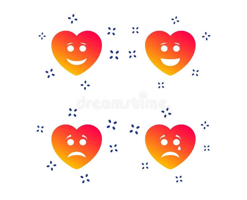 Icone del fronte di sorriso del cuore Felice, triste, grido Vettore illustrazione vettoriale