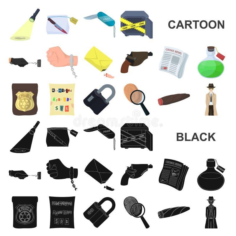 Icone del fumetto dell'agenzia di detective nella raccolta dell'insieme per progettazione Web delle azione di simbolo di vettore  illustrazione vettoriale