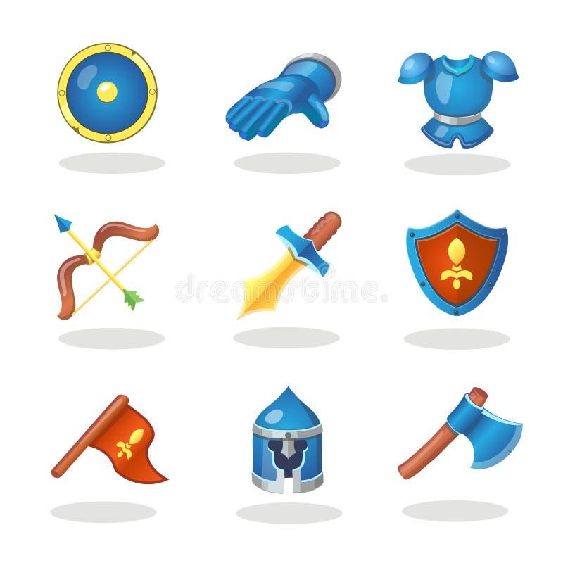 Icone del fumetto dell'arma del cavaliere messe illustrazione di stock