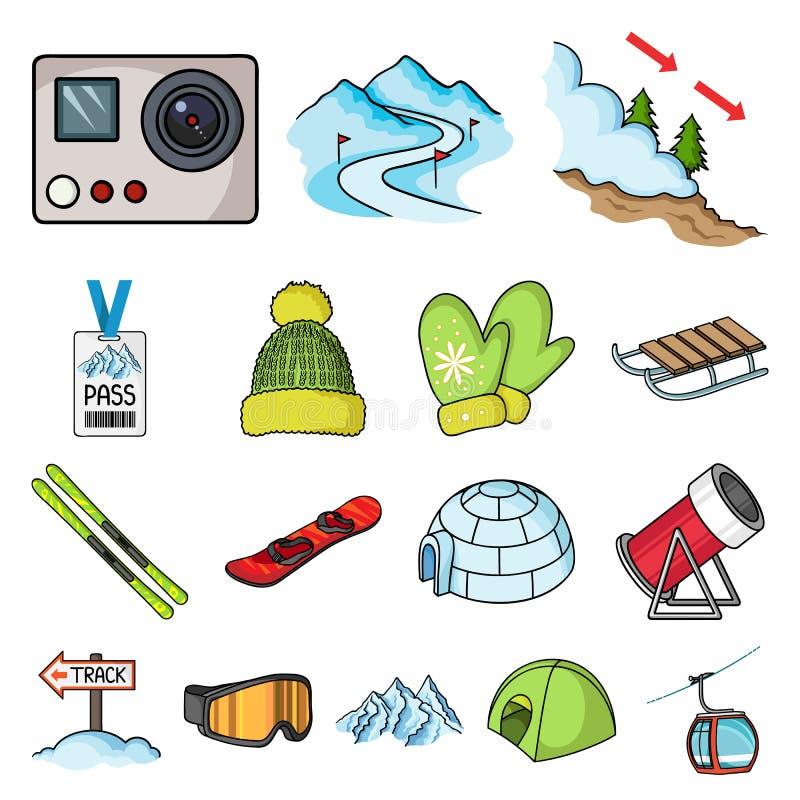 Icone del fumetto dell'attrezzatura e della stazione sciistica nella raccolta dell'insieme per progettazione Azione di simbolo di illustrazione vettoriale
