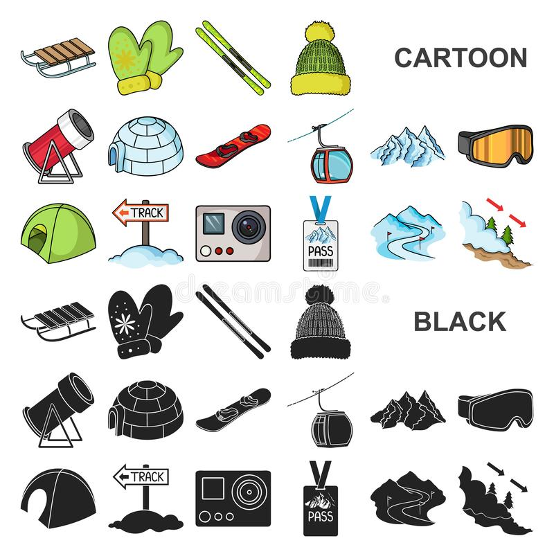 Icone del fumetto dell'attrezzatura e della stazione sciistica nella raccolta dell'insieme per progettazione Azione di simbolo di royalty illustrazione gratis