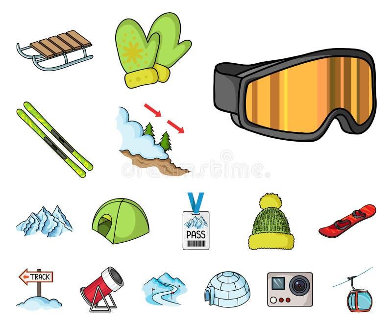 Icone del fumetto dell'attrezzatura e della stazione sciistica nella raccolta dell'insieme per progettazione Azione di simbolo di illustrazione di stock