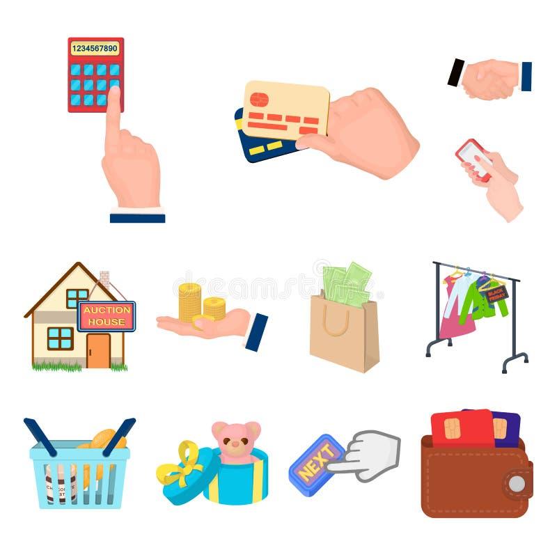 Icone del fumetto di affari e di commercio elettronico nella raccolta dell'insieme per progettazione Comprando e vendendo web del illustrazione vettoriale