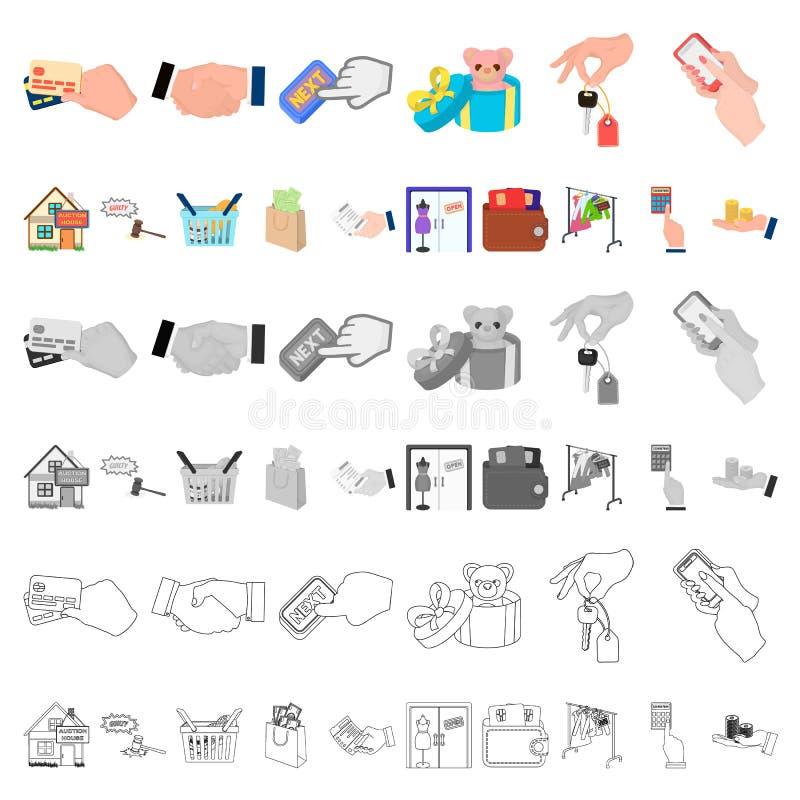 Icone del fumetto di affari e di commercio elettronico nella raccolta dell'insieme per progettazione Comprando e vendendo web del illustrazione di stock