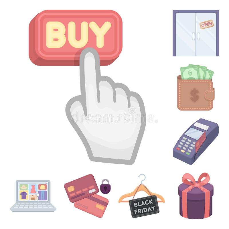 Icone del fumetto di commercio elettronico, dell'acquisto e di vendita nella raccolta dell'insieme per progettazione Web di finan illustrazione di stock