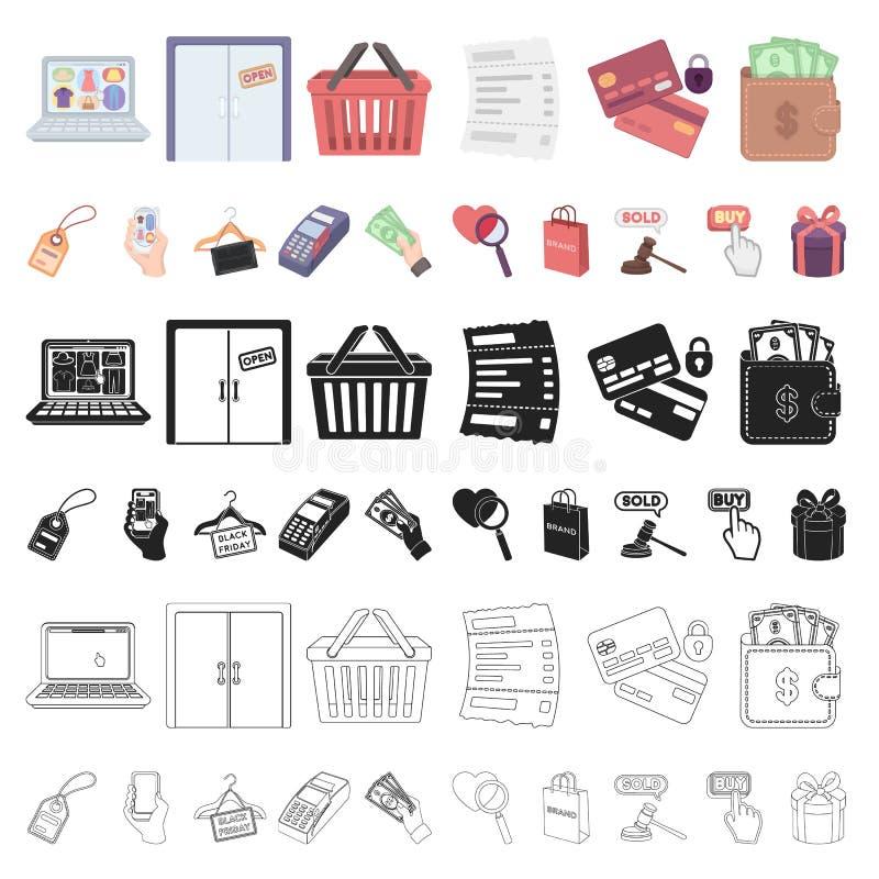 Icone del fumetto di commercio elettronico, dell'acquisto e di vendita nella raccolta dell'insieme per progettazione Web di finan royalty illustrazione gratis