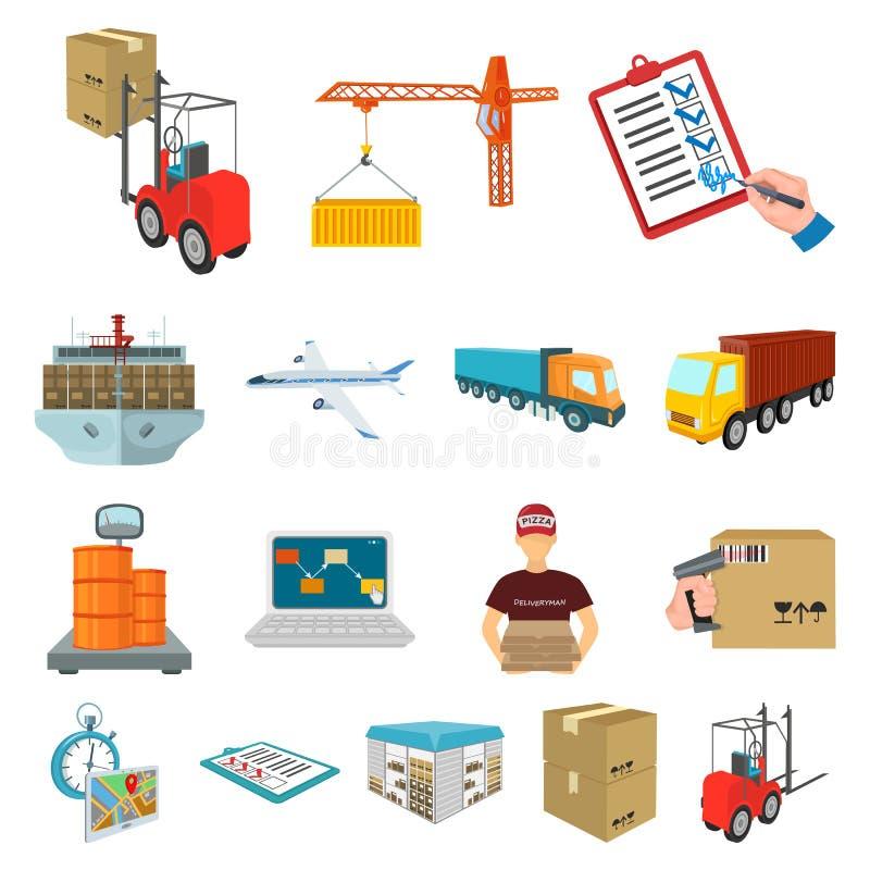 Icone del fumetto di consegna e di logistica nella raccolta dell'insieme per progettazione Trasporto ed azione isometriche di sim illustrazione di stock