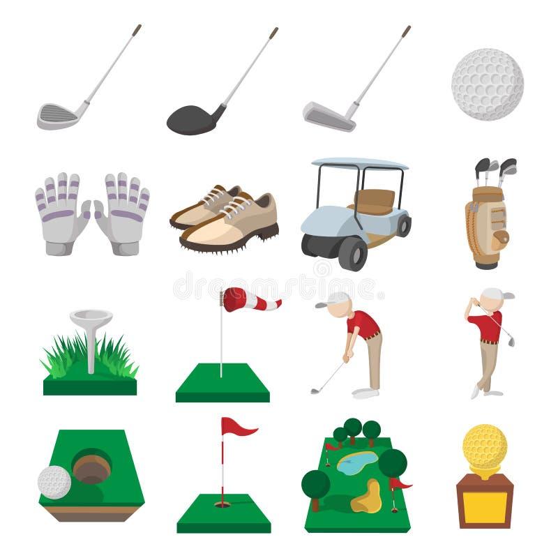 Icone del fumetto di golf messe royalty illustrazione gratis