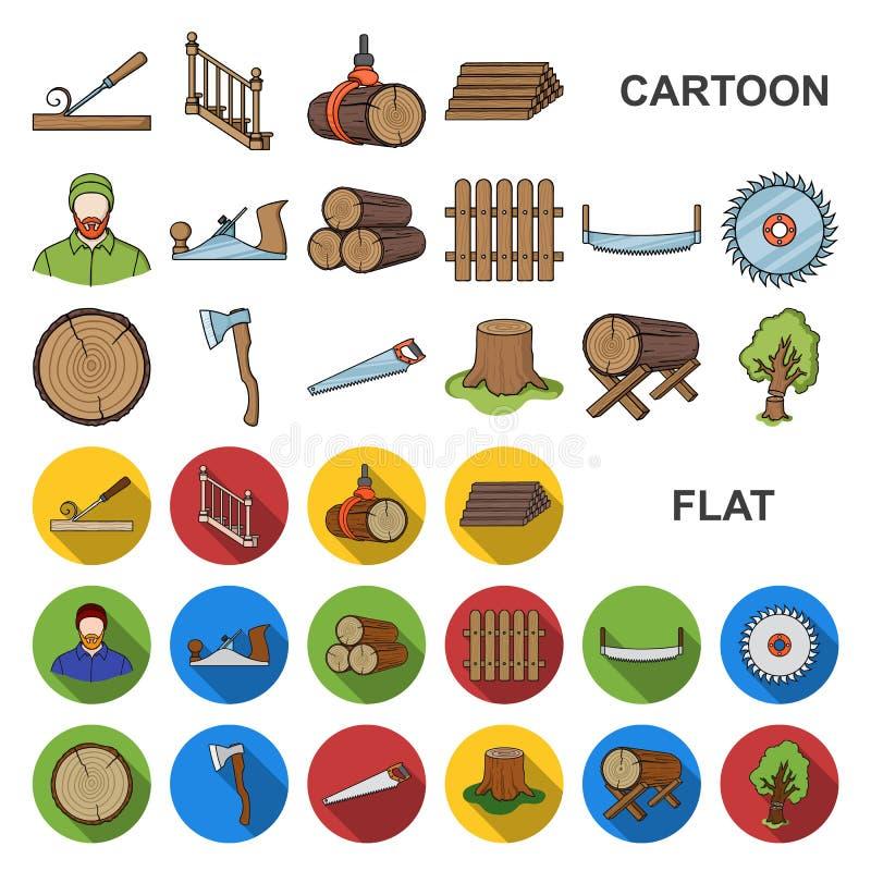 Icone del fumetto del legname e della segheria nella raccolta dell'insieme per progettazione L'hardware e gli strumenti vector l' royalty illustrazione gratis