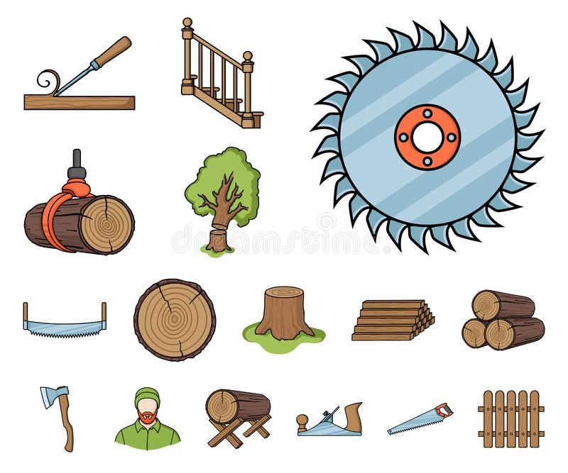 Icone del fumetto del legname e della segheria nella raccolta dell'insieme per progettazione L'hardware e gli strumenti vector l' illustrazione vettoriale