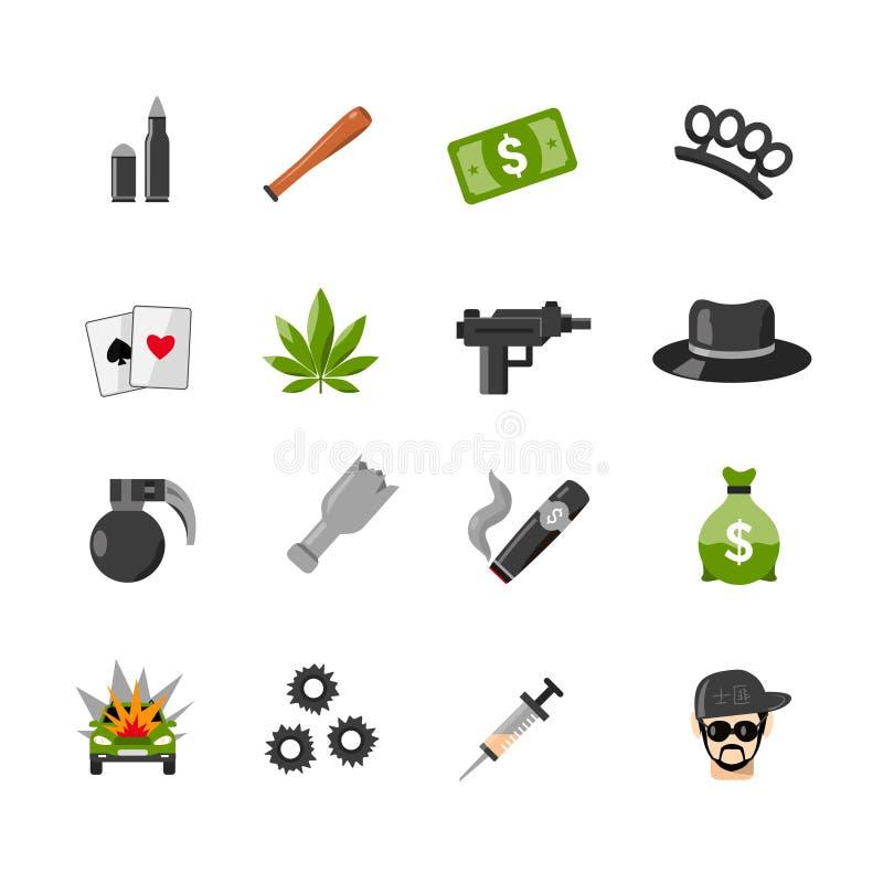 Icone del gangster isolate piano royalty illustrazione gratis