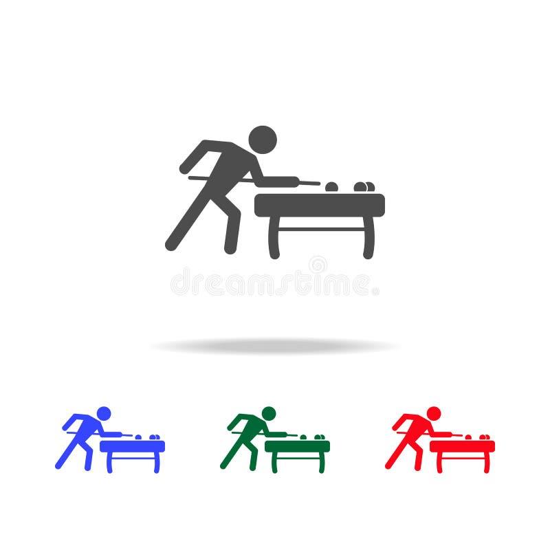 Icone del giocatore di biliardo Elementi dell'elemento di sport nelle multi icone colorate Icona premio di progettazione grafica  illustrazione vettoriale