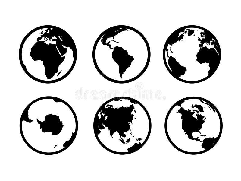 Icone del globo della terra Insieme di simboli globale del nero di vettore di turismo di commercio di Internet di geografia della illustrazione vettoriale