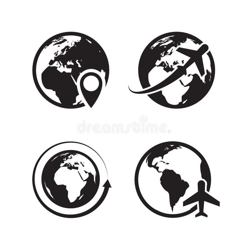 Icone del globo messe Simboli globali di vettore di commercio di Internet dell'icona del perno della mappa della terra e del glob royalty illustrazione gratis