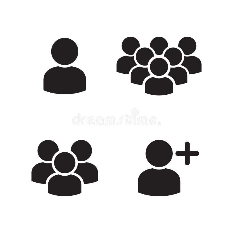 Icone del gruppo di profilo utente messe illustrazione vettoriale