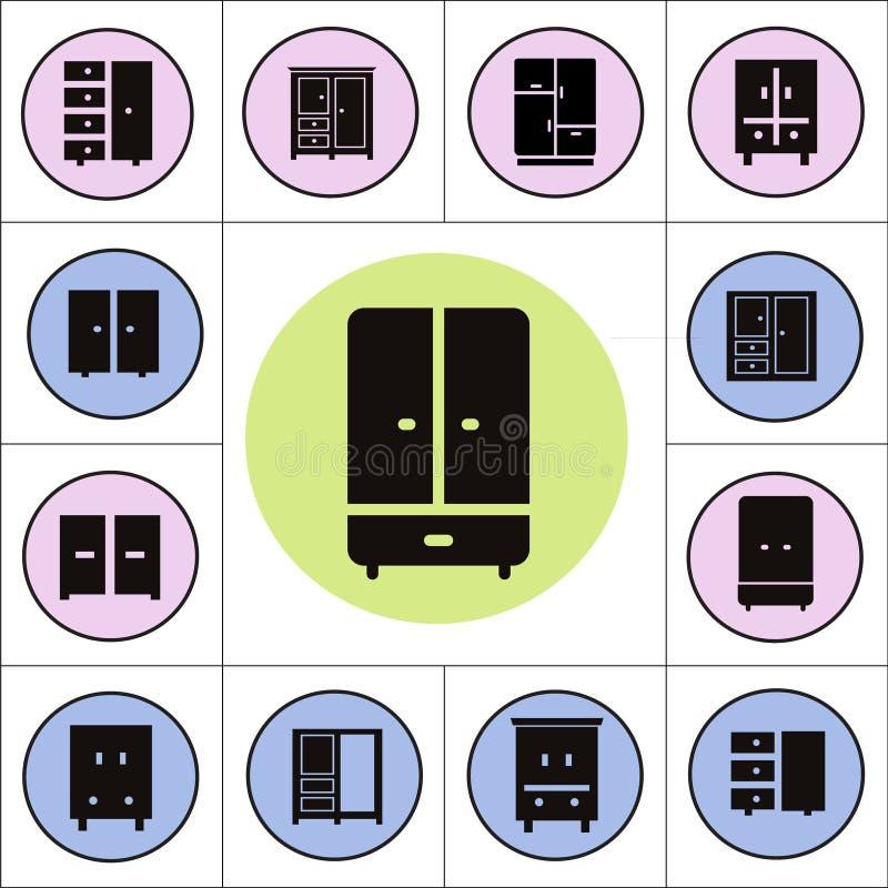 Icone del guardaroba illustrazione vettoriale