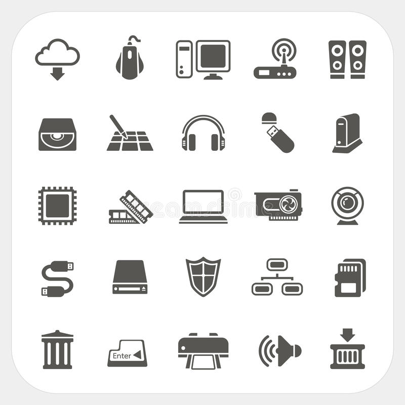 Icone del hardware messe royalty illustrazione gratis