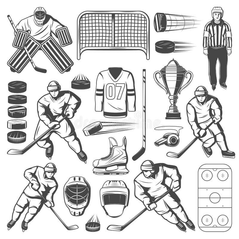 Icone del hockey su ghiaccio dei giocatori, bastone, disco, pista di pattinaggio royalty illustrazione gratis