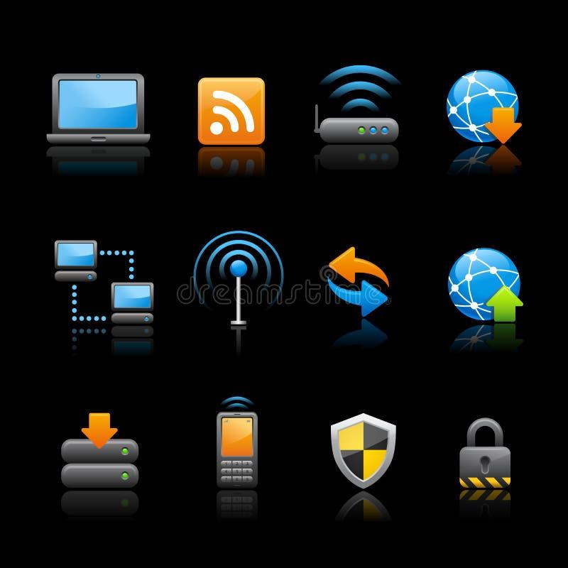 Icone del Internet & di Web - il nero di // di connettività illustrazione di stock