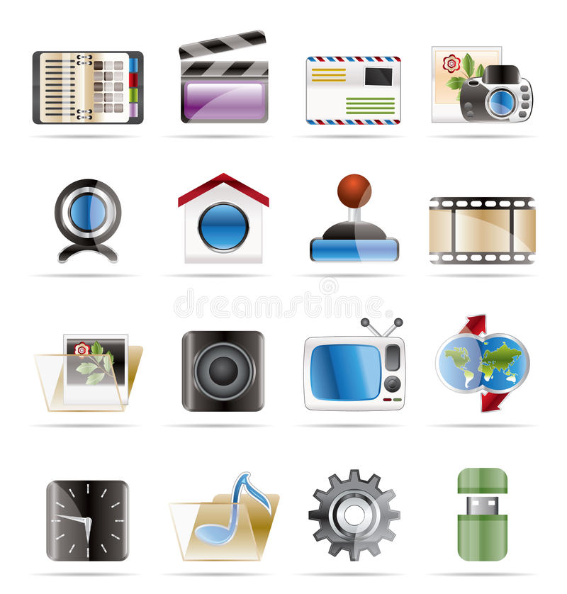 Icone del Internet, del calcolatore e del telefono mobile