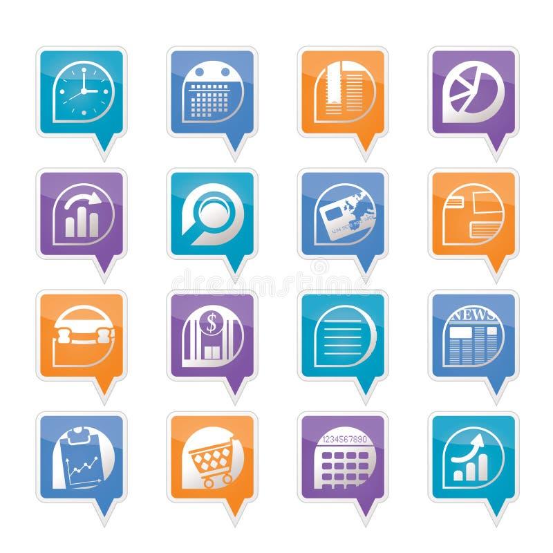 Icone del Internet dell'ufficio e di affari illustrazione di stock