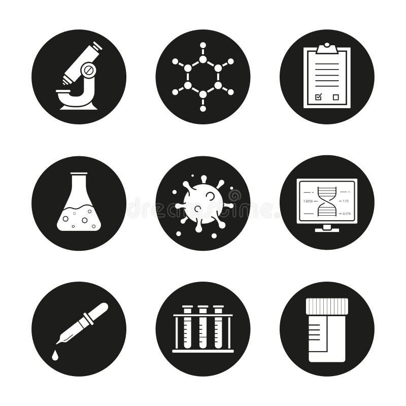 Icone del laboratorio di scienza messe illustrazione vettoriale