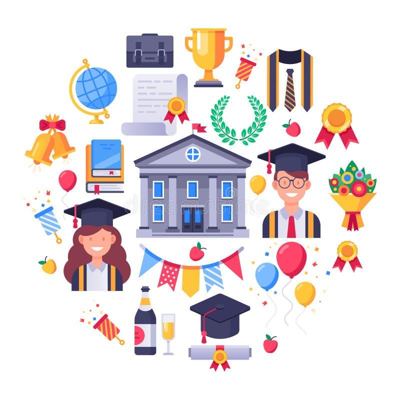 Icone del laureato Il giorno di laurea, studenti fa festa e finisce l'insieme dell'illustrazione di vettore dell'icona degli esam illustrazione vettoriale