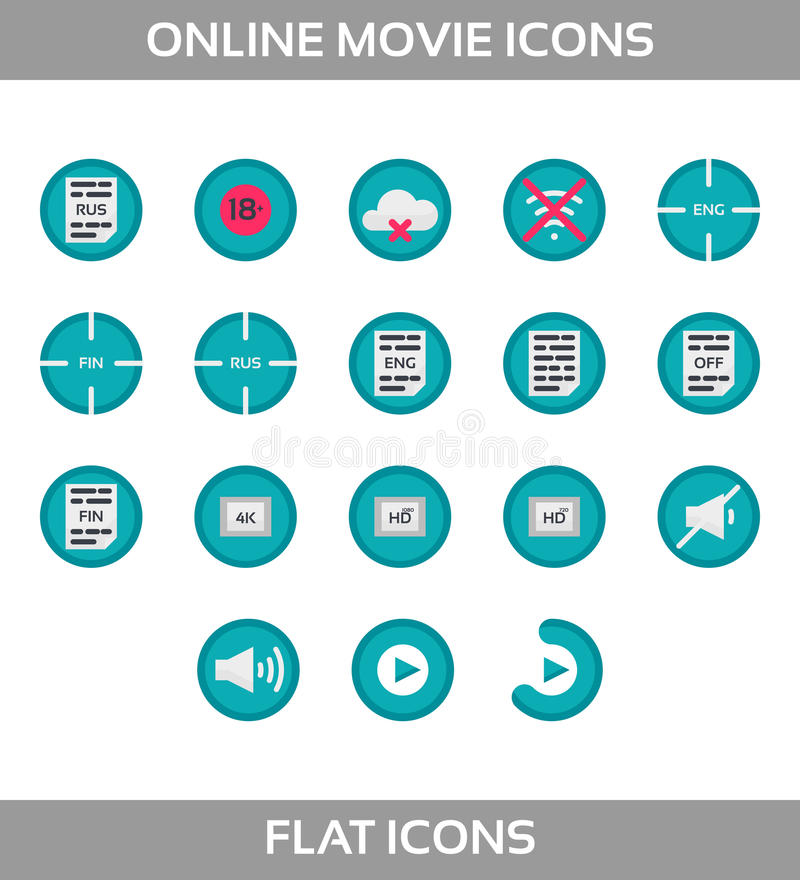 Icone del lettore multimediale messe multimedia Isolato Illustrazione di vettore, insieme perfetto del pixel illustrazione vettoriale