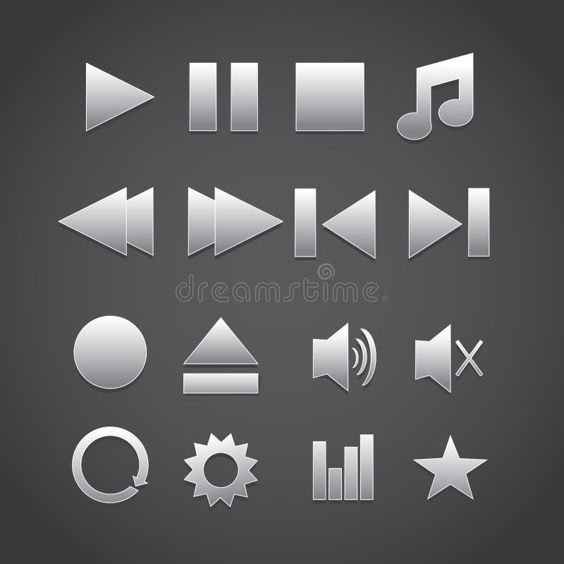Icone del lettore multimediale Vettore immagine stock libera da diritti