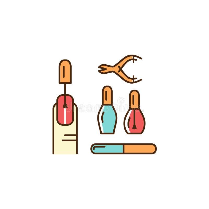 Icone del manicure Mani ben curato e unghie, smalto, strumenti del manicure Linea sottile progettazione variopinta di arte, profi royalty illustrazione gratis