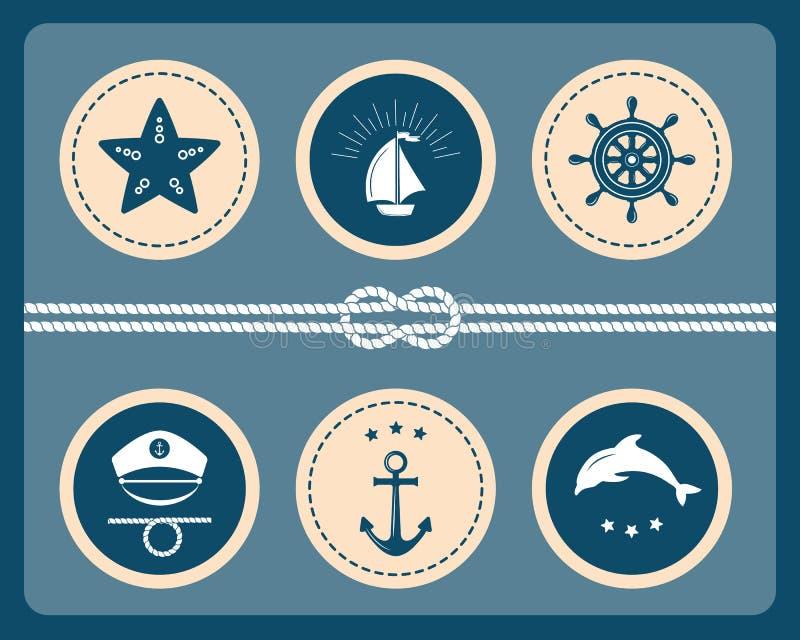 Icone del mare e nautiche, distintivi ed etichette illustrazione di stock