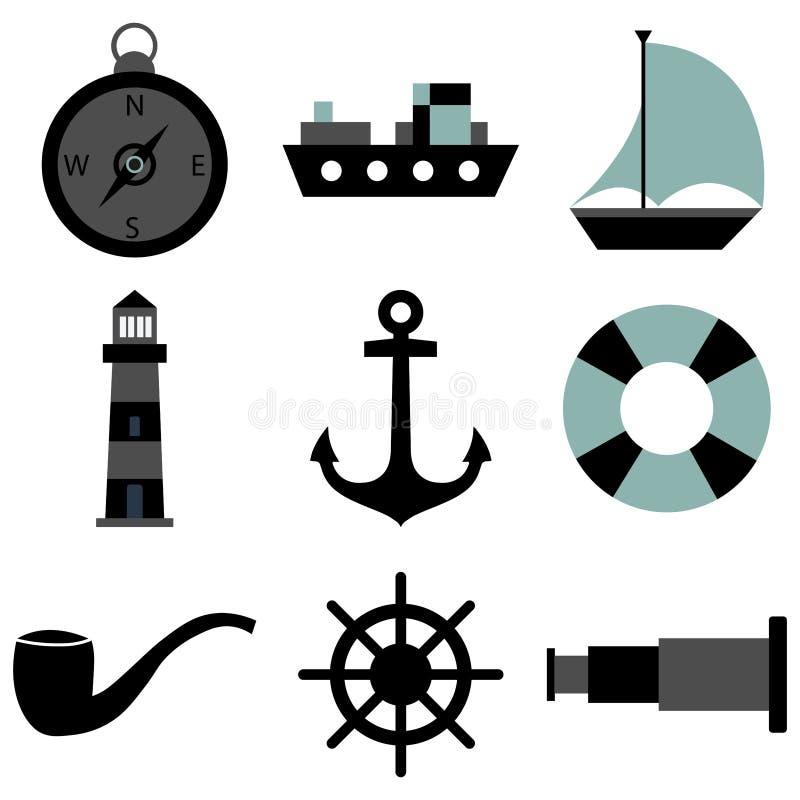 Icone del mare messe illustrazione vettoriale