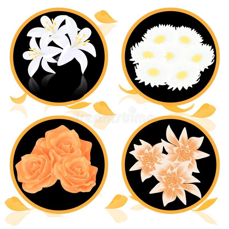 Icone del mazzo del fiore illustrazione di stock