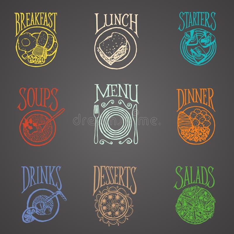 Icone del menu dei pasti - stile del latino illustrazione vettoriale