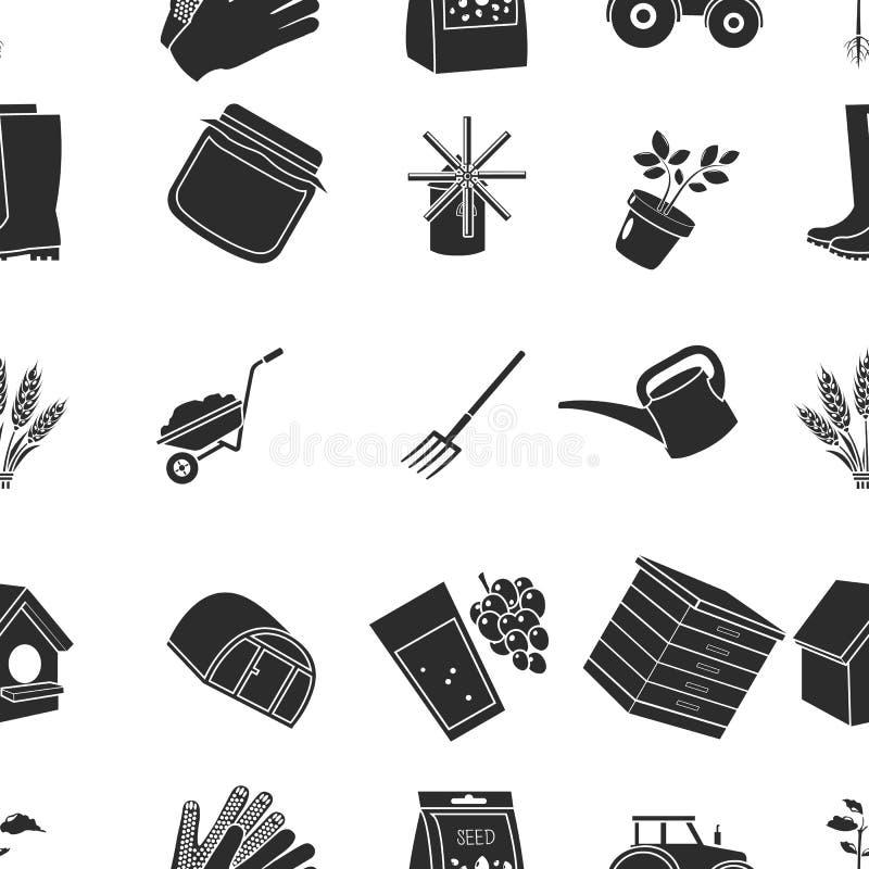 Icone del modello dell'azienda agricola nello stile nero Grande raccolta dell'illustrazione delle azione di simbolo di vettore de illustrazione vettoriale