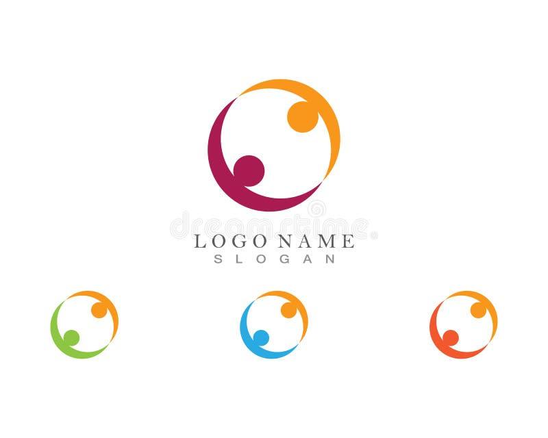 Icone del modello di logo di vita di salute di successo di cura di comunità della gente royalty illustrazione gratis