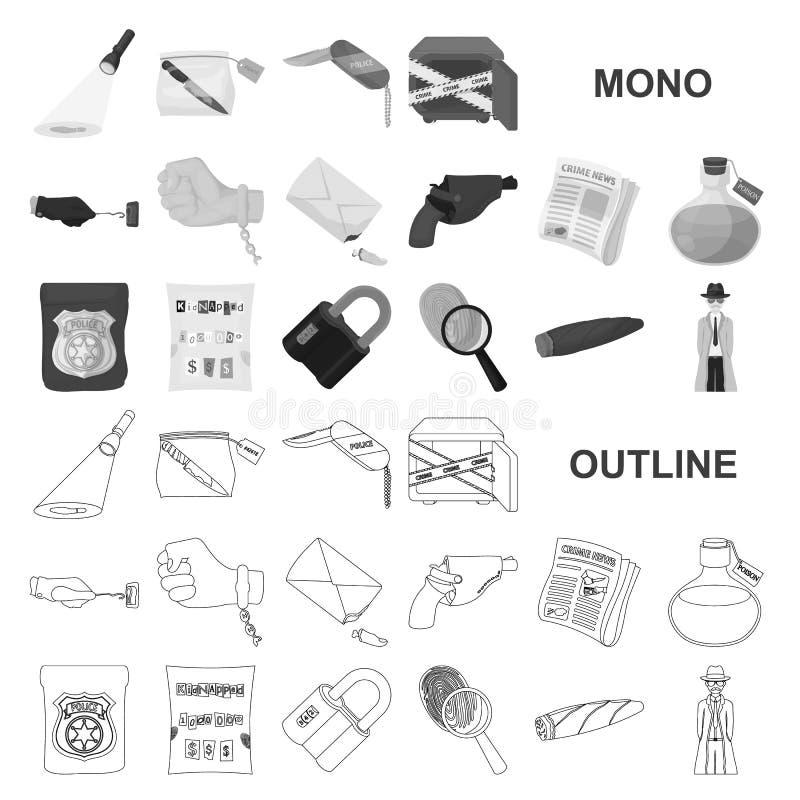 Icone del monochrom dell'agenzia di detective nella raccolta stabilita per progettazione Web delle azione di simbolo di vettore d royalty illustrazione gratis