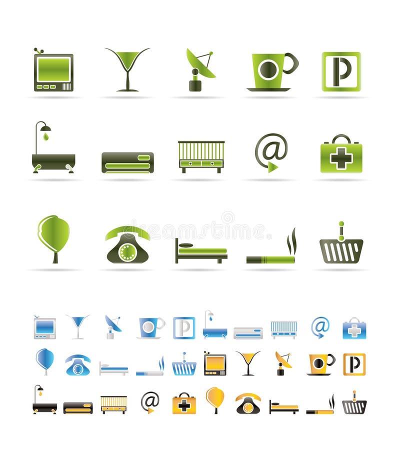 Icone del motel e dell'hotel illustrazione di stock